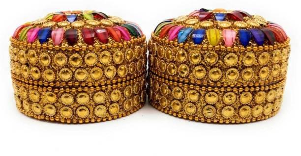 AstroShri Set of 2 Jeweled Boxes (7.2 x 7.2 x 5.3 Cm)- Multicolored Kumkum Boxes, Jeweled Boxes, Decorative boxes Vanity Box