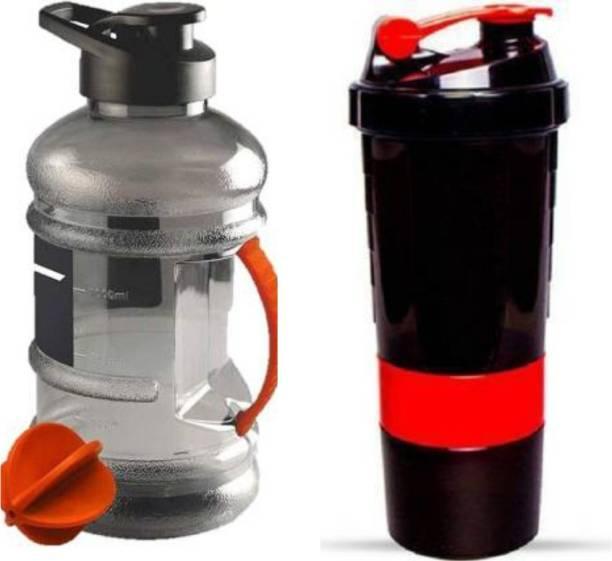 EMMKITZ Gym shaker bottle for gym with 2 storage 500ml+Gym gallon bottle 1500ml 1500 ml Shaker
