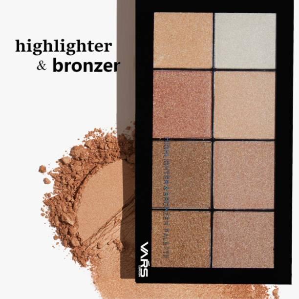 VARS LONDON highlighter bronzer combo palette|face highlighter palette|bronzer palette|contour palette|contour bronzer highlighter combo palette Highlighter