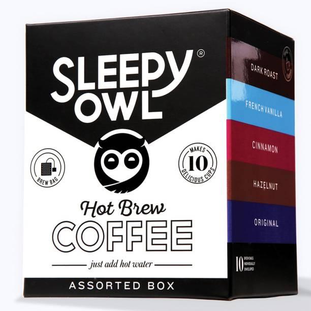 Sleepy Owl Assorted Hot Brew Bags (Set of 10) Roast & Ground Coffee