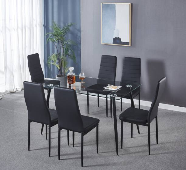 KRIJEN Octevia Glass 6 Seater Dining Set