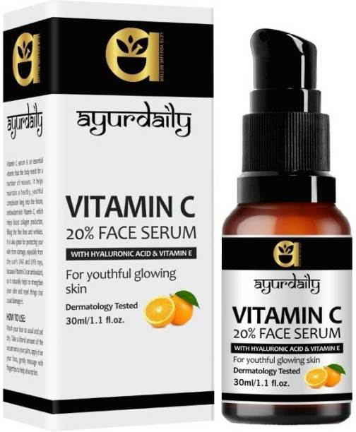 Ayurdaily Vitamin C 20% Face Serum with Hyaluronic Acid & Vitamin E, Grape Seed Extract For Youthful glowing Skin