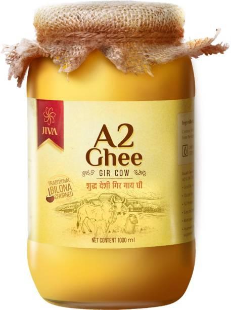 Jiva A2 Gir Cow Ghee - Pure & Nutritious - 1000 ml Ghee 1 kg Mason Jar