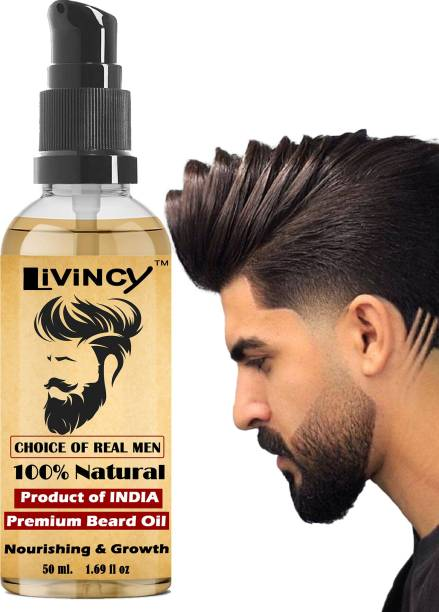 Livincy CHALLENGE 100% Natural Smoothening Beard Growth Hair Oil