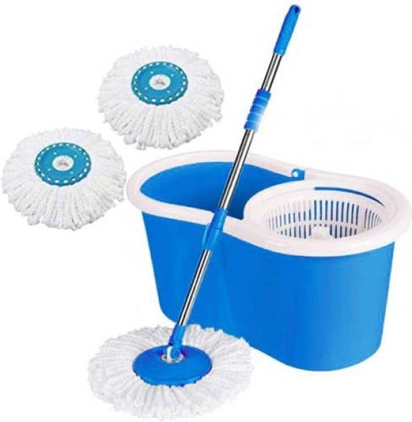 MiniPy Classic Dry Bucket Spin Magic Mop + 2 Super Microfiber Refiils for Home Mop Set, Duster, Mop, Cleaning Wipe, Bucket, Floor Wiper, Mop Refill Bucket, Mop
