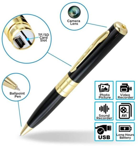 TECHNOVIEW Spy Pen Camera 32GB Supportable Mini Hidden Camera with Photo & Audio/Video Recorder Multifunction Home Security with Rechargeable Built in Battery (Gold & Black) Security Camera