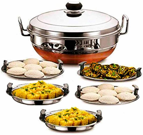 Bigbought Stainless Steel Idli Cooker Multi Kadai Steamer with Copper Bottom All-in-One Big Size 5 Plate 2 Idli | 2 Dhokla | 1 Patra | Momo's | 28.5 cm Dia. Standard Idli Maker