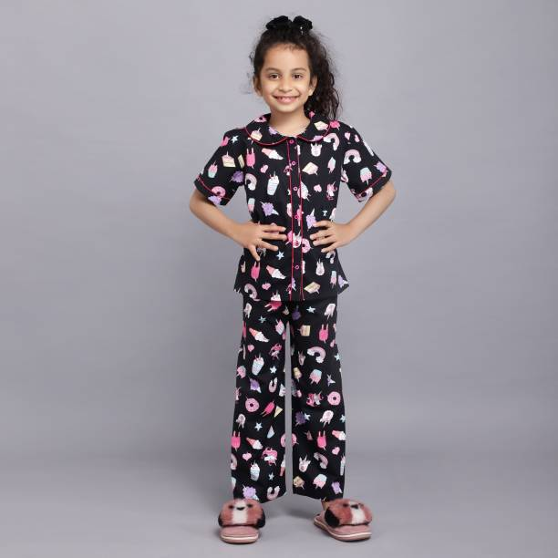 Ninos Dreams Kids Nightwear Girls Printed Cotton Blend