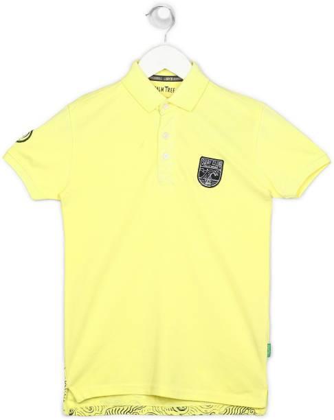 GINI & JONY Boys Solid Cotton Blend T Shirt