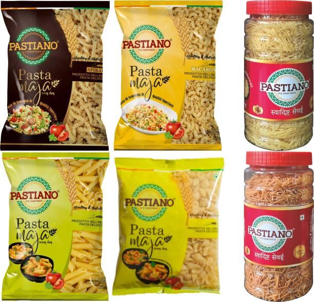 PASTIANO Jumbo Combo- Fusilli, Macaroni, Penne, Shells, Vermicelli Jar, Roasted Vermicelli Jar- 250 gms each- 6 in 1 Fusilli, Macaroni, Penne, Shell Pasta