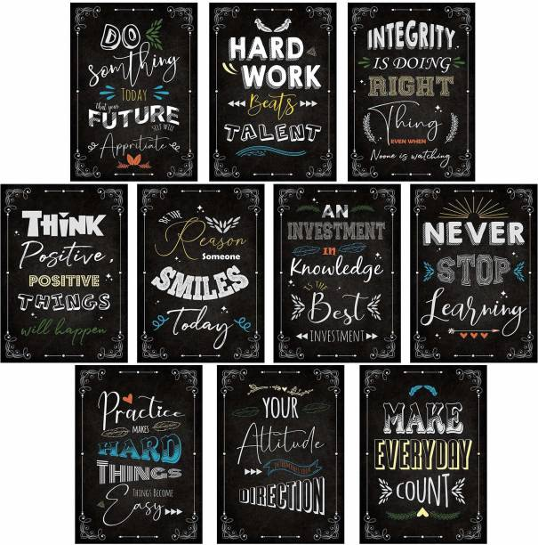 Set of 10 Motivational Quotes Posters for Room Home Bedroom Office Wall Decor - Motivational Wall Posters - Inspirational Quotes Wall Poster Paper Print