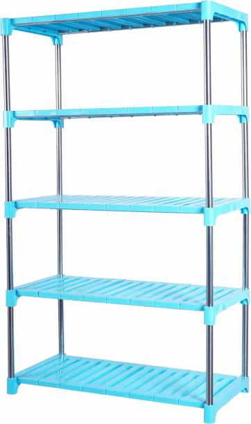 LivingBasics 5-TIER Multifunctional / Multipurpose Storage Shelves / Rack / Stand For Home/ Office / Kitchen/ /Balcony/ Bathroom / Study Room Polypropylene, Stainless Steel Wall Shelf