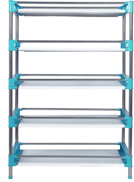 LivingBasics 5-TIER Multifunctional/Multipurpose Storage Shelves/Rack/Stand For Home/Office/Kitchen//Balcony/Bathroom/Study Room Polypropylene, Stainless Steel Wall Shelf