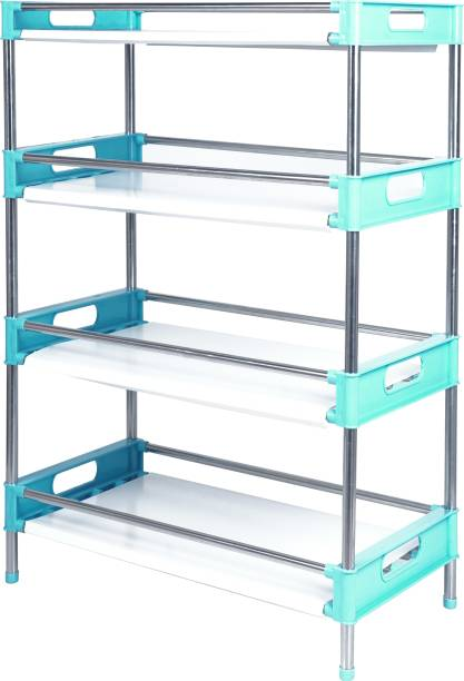 LivingBasics Multifunctional/Multipurpose Storage Shelves/Rack/Stand For Home/Office/Kitchen//Balcony/Bathroom/Study Room Stainless Steel, Polypropylene Wall Shelf