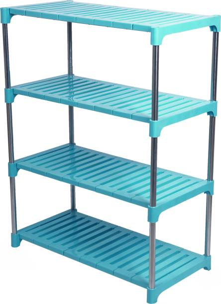 LivingBasics 4-TIER Multifunctional / Multipurpose Storage Shelves / Rack / Stand For Home/ Office / Kitchen/ /Balcony/ Bathroom / Study Room Stainless Steel, Polypropylene Wall Shelf