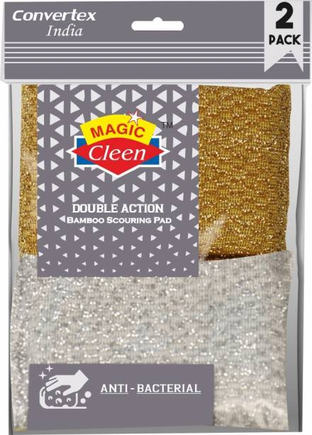 Magic Cleen Bamboo Scourer Pad - (2 Packs of 4 Pcs) Stainless Steel Scrub