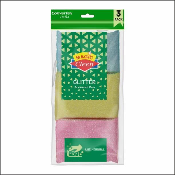 Magic Cleen Glitter Scourer Pad - (2 Pack of 6 Pcs) Scrub Pad