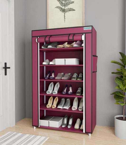 FLIPZON Iron and Fabric Multi-Purpose Shoe Rack, 6 Shelf, Maroon Metal Shoe Stand