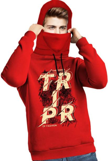 TRIPR Printed Men Hooded Neck Red T-Shirt