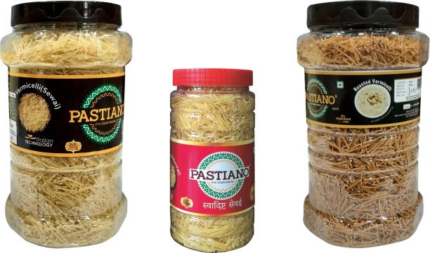 PASTIANO  & Roasted  (Sewai)- Pack of 3- 500 gms X2 + 250 gms X1 Vermicelli 1.25 kg