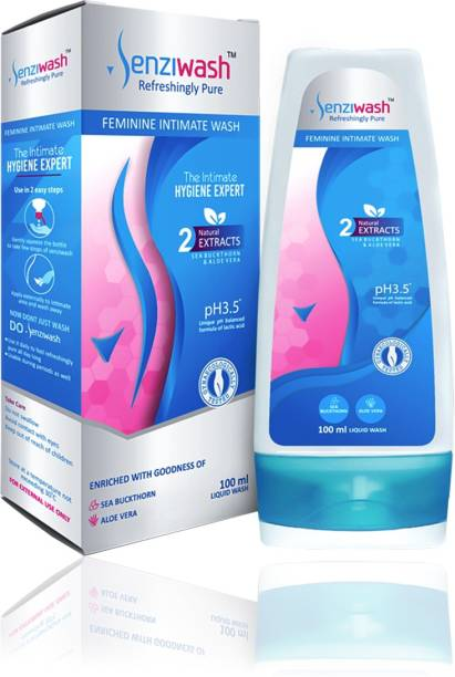 senziwash Vaginal wash/feminine intimate wash, vaginal hygiene for women, Experts in Intimate Hygiene, pH Balanced Scientific Intimate care with Natural ingredients, Enriched with Aloe and Sea Buckthorn, Prevents infection, dryness, and itching. Intimate Wash
