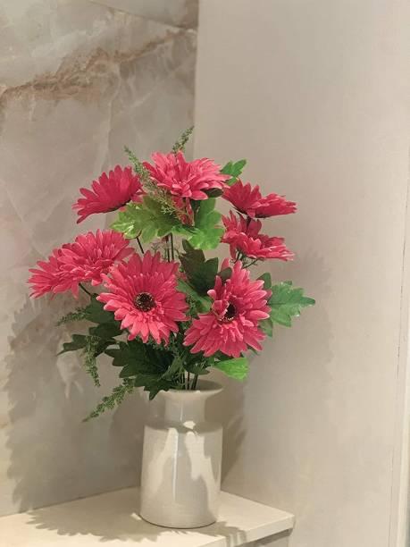 FOURWALLS Beautiful Decorative Artificial Garabara Flower Bunches for Home d�cor (48 cm Tall, 10 Heads, Dark/Pink) Pink Gerbera Artificial Flower