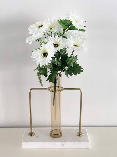 FOURWALLS Beautiful Decorative Artificial Garabara Flower Bunches for Home d�cor (48 cm Tall, 10 Heads, White) White Gerbera Artificial Flower