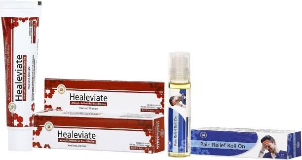 HerbRoot Surya Herbal Pack of 2 Pain Relief Roll on 10ml each for Headache & 2 Healeavite - Antiseptic, Antibacterial & Wound Healing Cream 25gm each