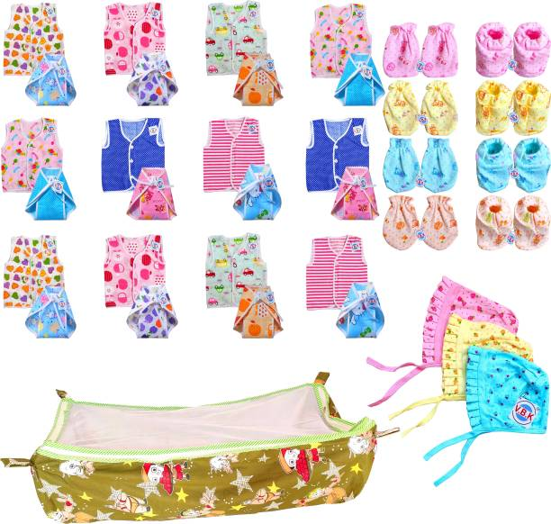 V.B.K New Baby Care Combo Of 32 Items, Premium Quality Cloth Material, 0 - 6 Months