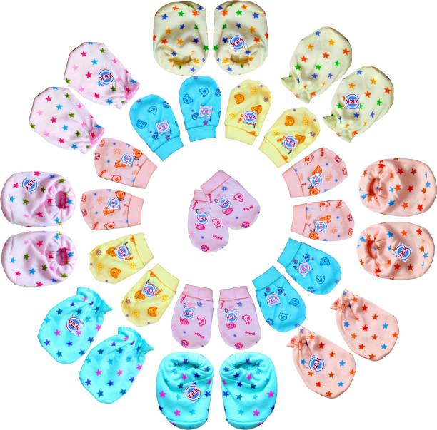 V.B.K Baby Boy and Baby Girl Combo Pack Of Hand Mittens (12 Pair) and Leg Booties (4 Pair), Pure Hosiery Soft Fabric, 0 to 4 Months