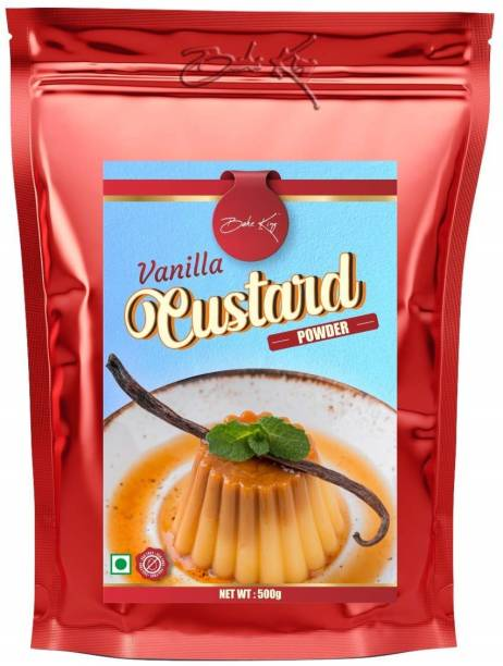 Bake King Custard Powder Vanilla Flavour 500G, Vanilla Custard Powder Pantry, Vanilla Custard Powder For Cake, Ice Cream, Mixed Fruit Pudding, Salad and Milkshake - Eggless Custard Powder Vanilla 500G Custard Powder