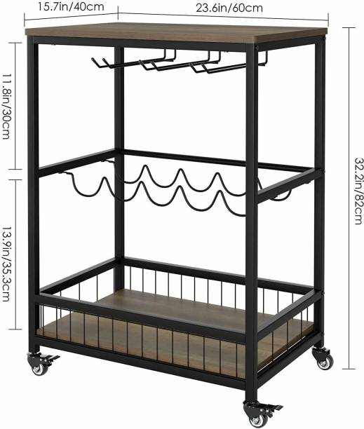PRITI Bar Serving Cart Table Kitchen Wine Storage Cart with Wine Rack/Glass Holder, Serving Trolley with Lockable Wheels for Home, Brown Metal Bar Trolley