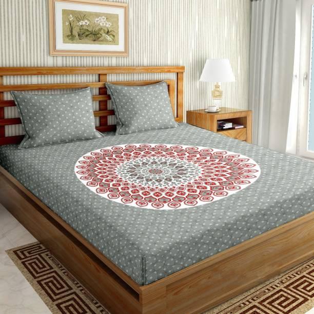 BELLA CASA 150 TC Cotton Double King Geometric Bedsheet