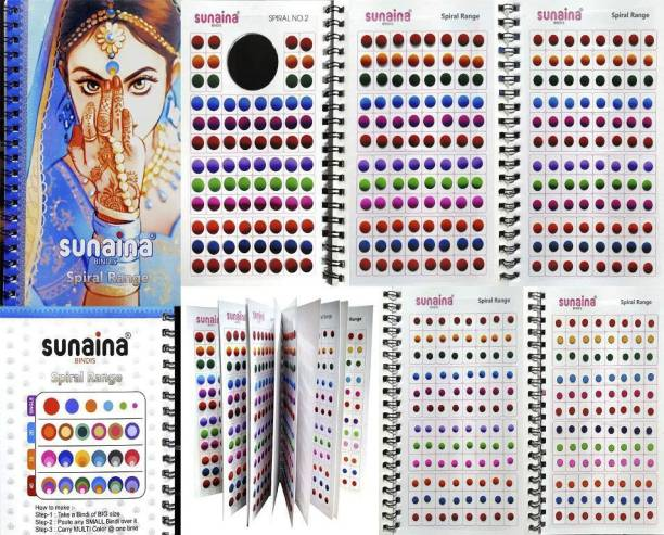 SUNAINA Spiral DOUBLESHADE Multicolour Bindi Book For Women With 1 SPECIAL multicolour outline sketch bindi page (fancy, round, plain, Matching Makeup) FOREHEAD Multicolor Bindis