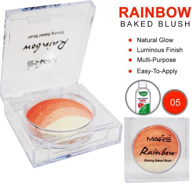 MARS Rainbow Shining Baked Blush, (KF8274-05), 22g With Lilium Hand Cleanser