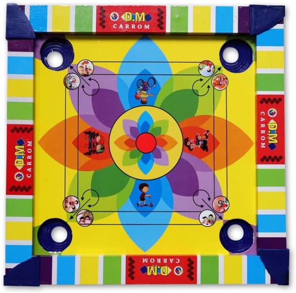 Aarvee Aaravee kids Colourful Carrom Board With Ludo 2 In 1 Board for Indoor Game (Multicolored) Sports Wooden Round Pocket Carrom Board with Coins, Striker Medium(13.5 Inchesx14 Inches) Carrom Board Board Game