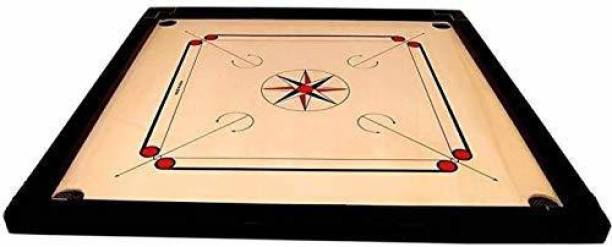 DSPKA Carrom Board Game With Crystal Coins, 1 Striker 1 Powder Brown Color For Kids (Small Size, 20 Inches) Carrom Board Board Game