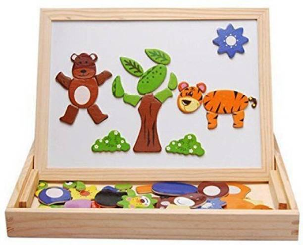 VAIBHAV Educational Animals Wooden Magnetic Puzzle Toys for Children Board Game Accessories Board Game