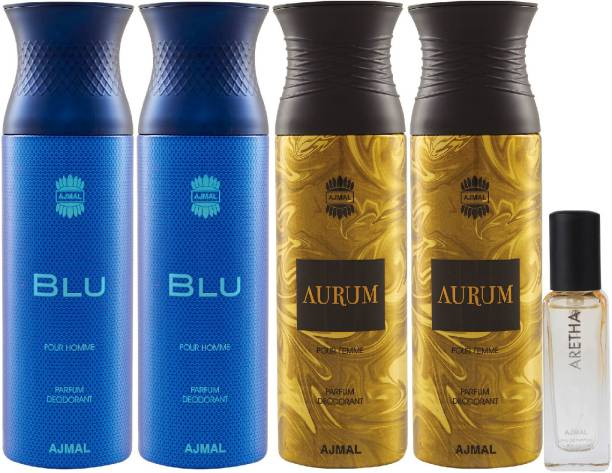 Ajmal 2 Blu & 2 Aurum Deo each 200ML & Aretha EDP 20ML Pack of 5 (Total 820ML) for Men & Women + 2 Parfum Testers