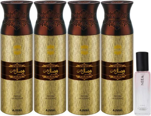 Ajmal 4 Wisal Dhahab Deo each 200ML & Neea EDP 20ML Pack of 5 (Total 820ML) for Men & Women + 2 Parfum Testers