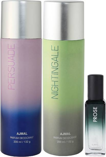 Ajmal Persuade & Distraction Deo each 200ml & Prose EDP 20MLPack of 3 (Total 420ML) for Men & Women + 2 Parfum Testers