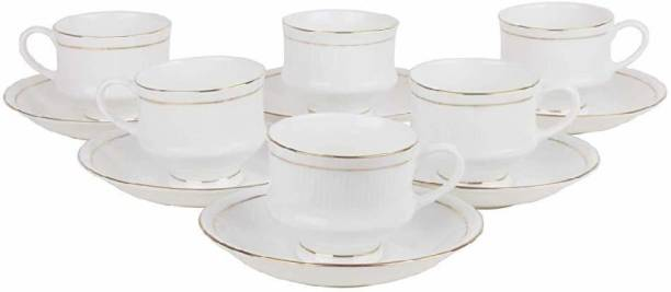 love unlimited Pack of 12 Bone China Golden Line Tableware Bone China Tea Coffee Cup Saucer Set - 12 Pcs