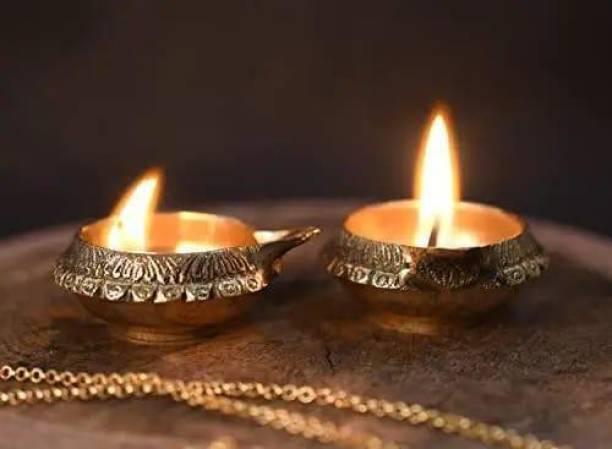 Handicraft Hub Diya for Pooja Made of Pure Brass - Kuber Diya Diwali Decoration (Set of 2)- (Gold) Brass (Pack of 2) Table Diya Set