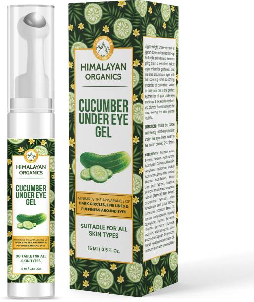 Himalayan Organics Cucumber Under Eye Gel with Massage Roller to Reduce Dark, Puffiness & Fine Lines with Castor Oil, Vitamin E & Sesame- 15ml