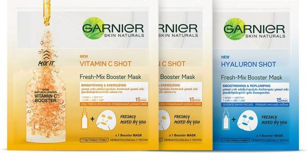 GARNIER Sheet Masks Combo - 2 Fresh Mix Vitamin C Serum Face Masks (Orange) + 1 Fresh Mix Hyaluron Shot Booster Face Mask (Blue)