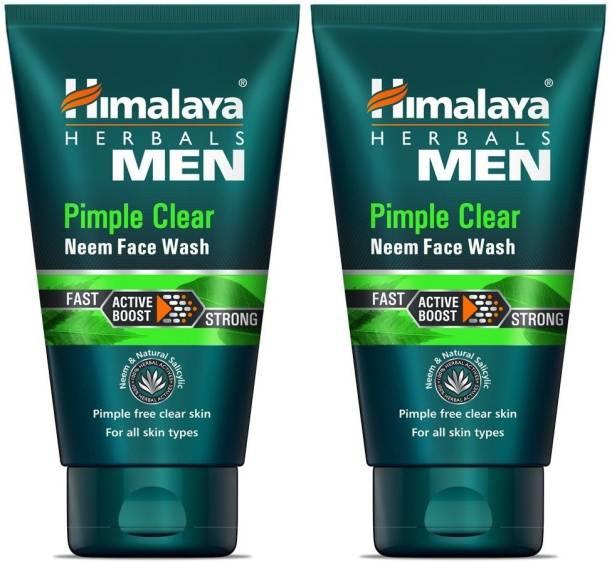 HIMALAYA Herbals Men Pimple Clear Neem  - (2 x 50 ml Packs) Face Wash