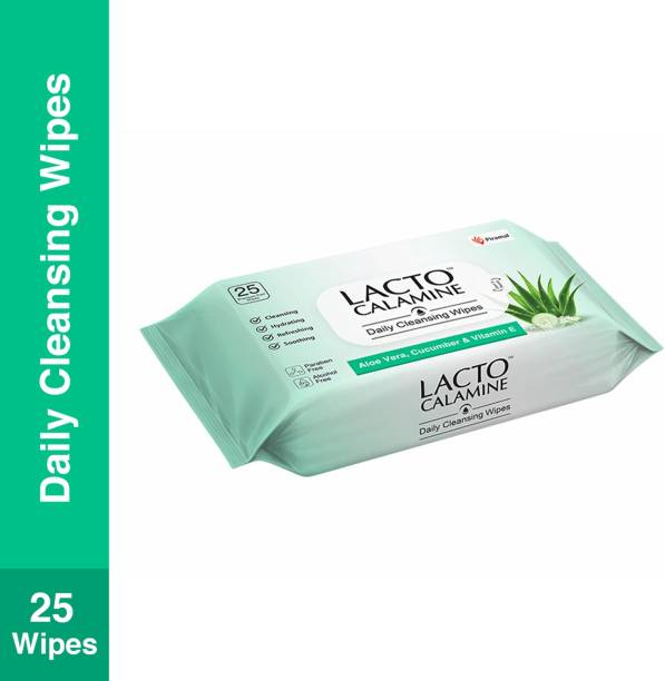 Lacto Calamine Daily Cleansing Facial Wipes with Aloe Vera, Cucumber and Vitamin E, Paraben & Alcohol Free