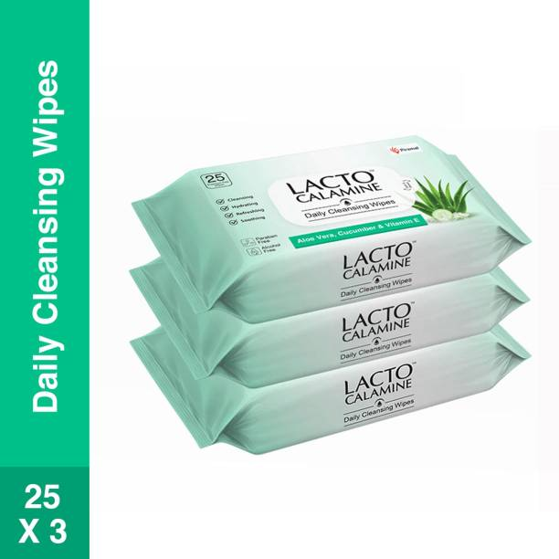 Lacto Calamine Daily Cleansing Facial Wipes with Aloe Vera, Cucumber and Vitamin E, Paraben & Alcohol Free,