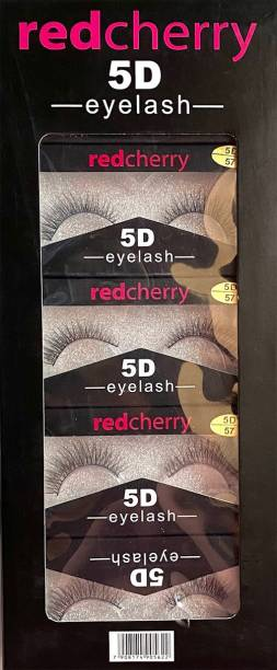 red cherry BLACK NATURAL 5D-57 EYE LASHES PACK OF 5 PCS