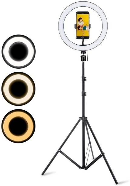 Webilla 10 Inch Ring Light With Tripod Stand In 3 Modes Adjustable Light Dimmable Light For smartphone With Phone Holder For Youtube Tik tok Video Live Photo Studio make up Ring Flash
